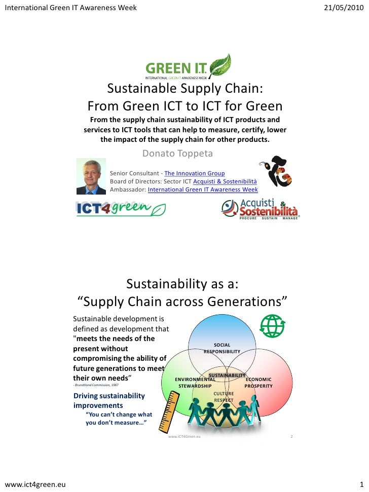 Green ICT Sustainable Supply Chain