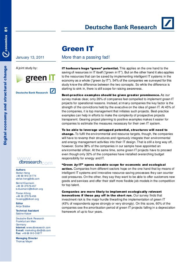 Study Green IT - More than a passing fad!