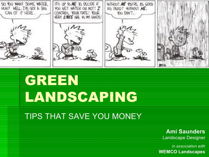 GREEN LANDSCAPING TIPS THAT SAVE YOU MONEY                              Ami Saunders                             Landscape...