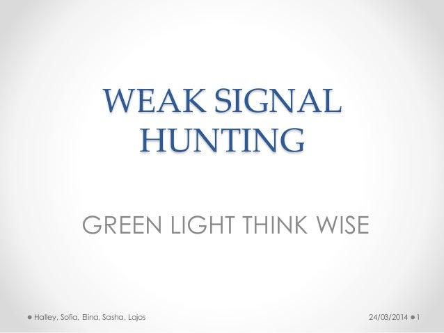 WEAK SIGNAL HUNTING GREEN LIGHT THINK WISE 24/03/2014 1Halley, Sofia, Elina, Sasha, Lajos