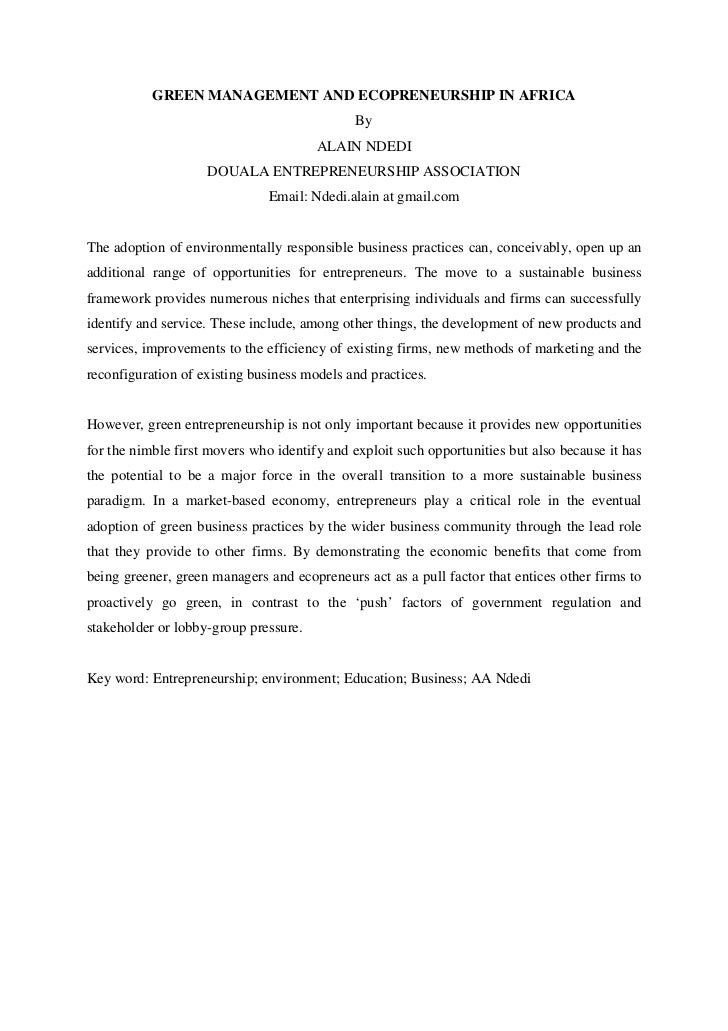 Green management practices and ecopreneurship in africa