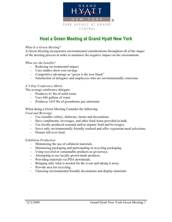 Green Meeting At Grand Hyatt New York