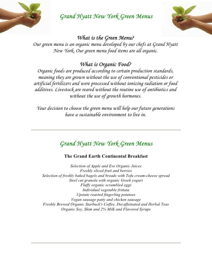 Green Menus At Grand Hyatt New York With Intro No Pricing