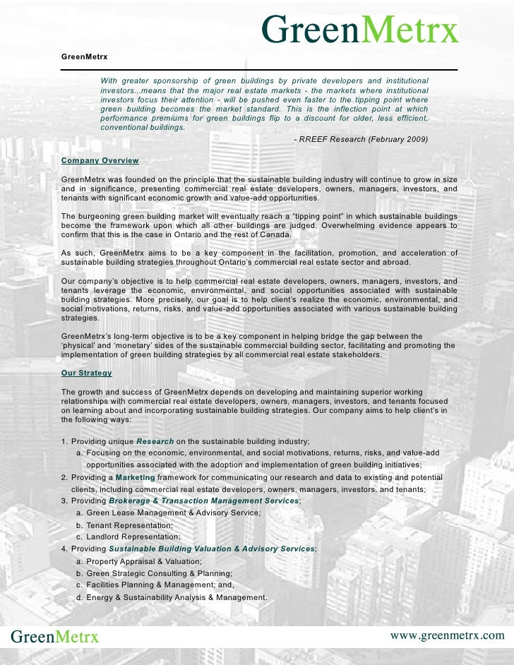 GreenMetrx            With greater sponsorship of green buildings by private developers and institutional           invest...
