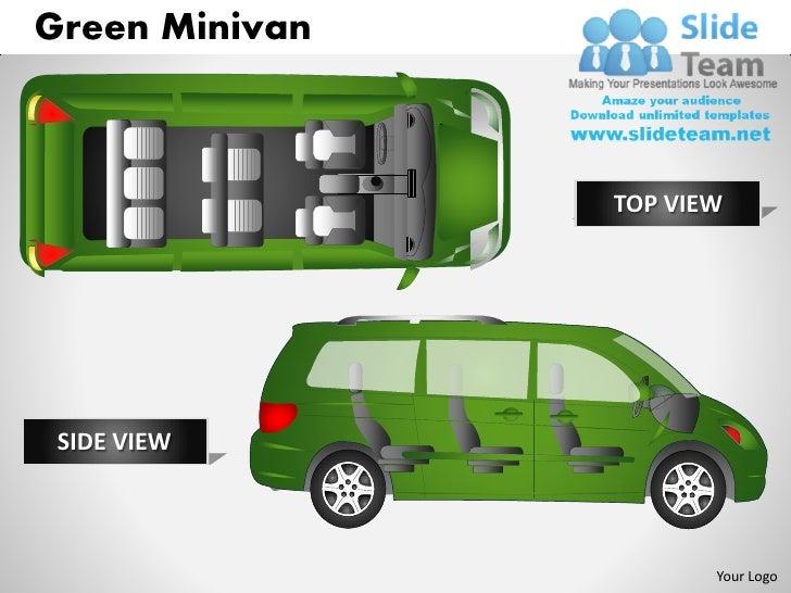 Green minivan top view powerpoint presentation slides ppt templates