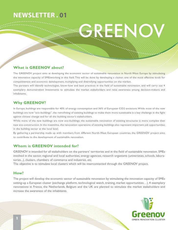 NEWSLETTER . 01                                                         GREENOVWhat is GREENOV about?The GREENOV project a...