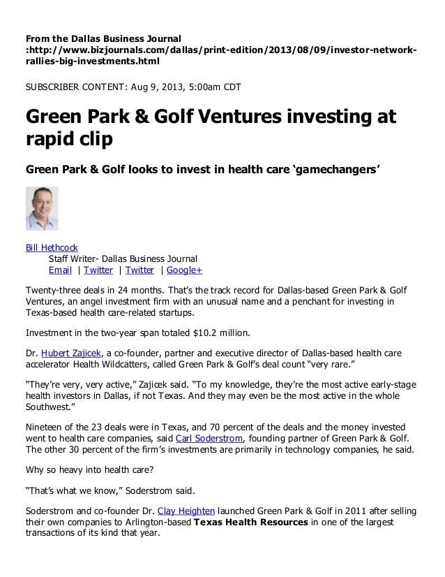 Green park & golf ventures investing at rapid clip   dallas business journal