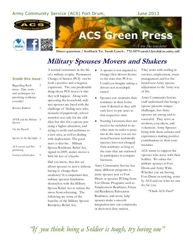 ACS Green PressArmy Community Service (ACS) Fort Drum, June 2013Regarding Resil-ience: Tips, toolsand techniques forpracti...