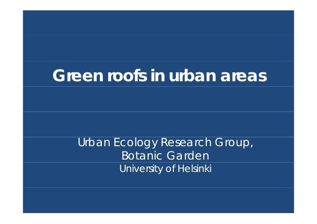 Green roofs in urban areas - University of Helsinki