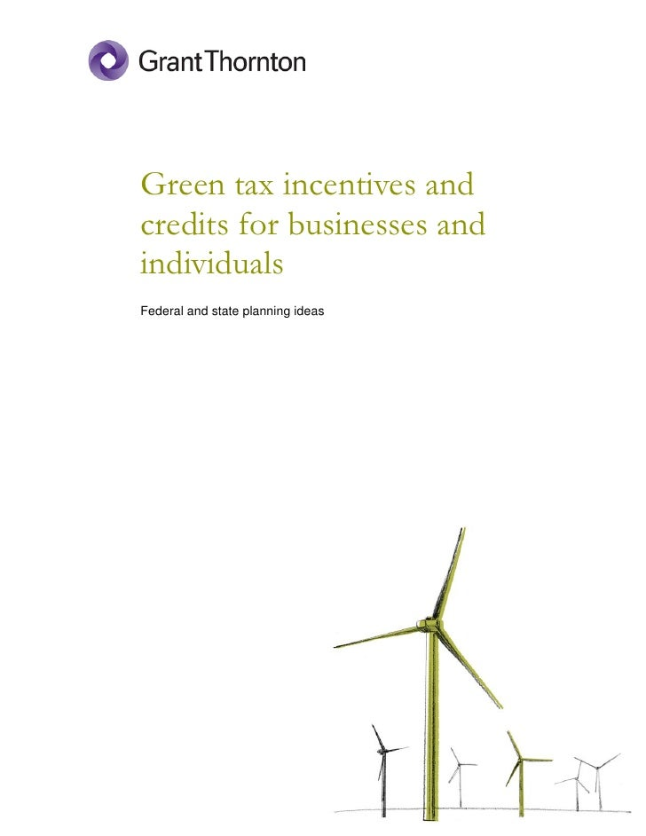 Green tax incentives and credits for businesses and individuals Federal and state planning ideas