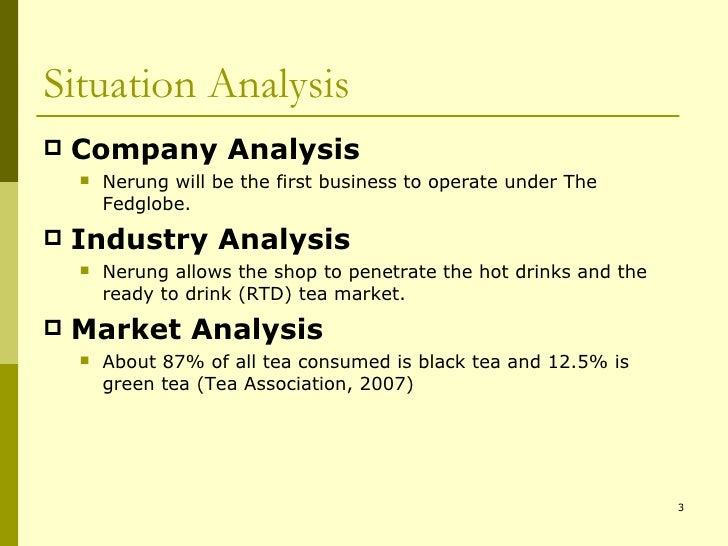 situation analysis of the company product essay Situation analysis essays: enjoys a large consumer and small business base is faced with a situation of deciding upon a new product to expand its market.