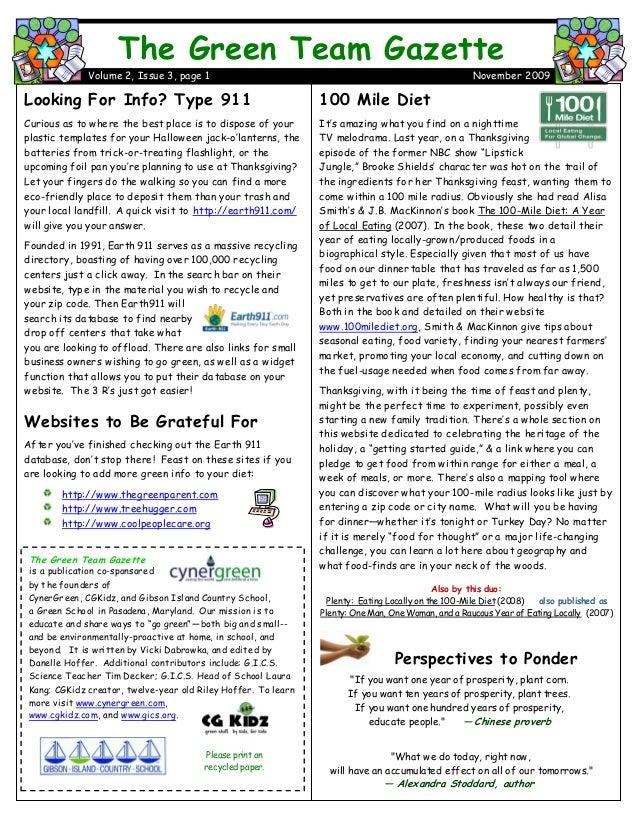 Green Team Gazette 2.3 November 09