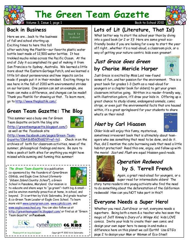 Green Team Gazette 3.1 Back to School 2010