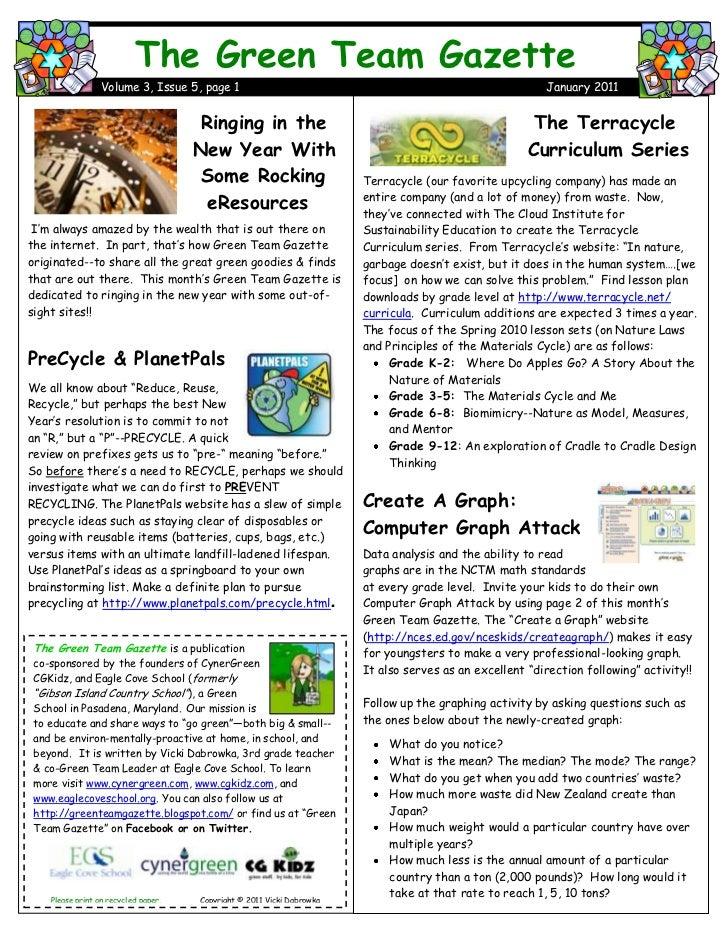 Green team gazette 3.5 january 2011