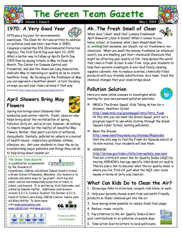 Green Team Gazette 6--May 2009