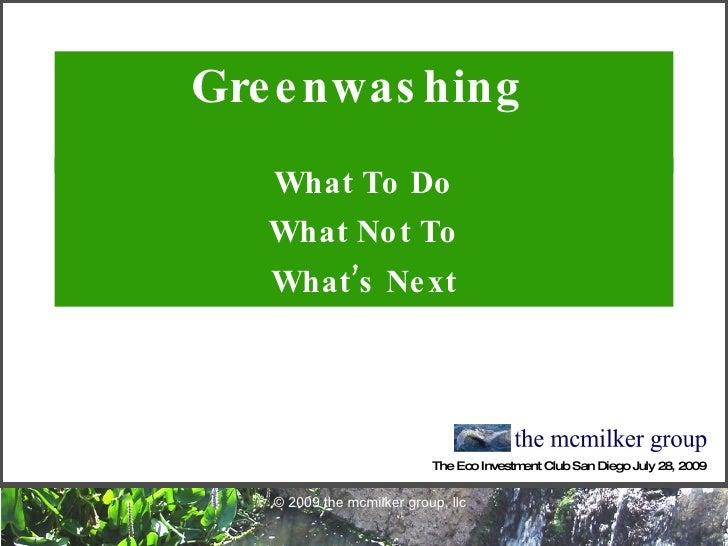 Greenwashing - What's Next?