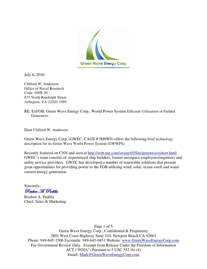 Green Wave Mobile Power System Rfp Response