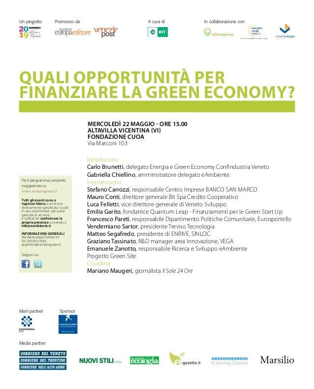 Seminario: QUALI OPPORTUNITÀ PER FINANZIARE LA GREEN ECONOMY?