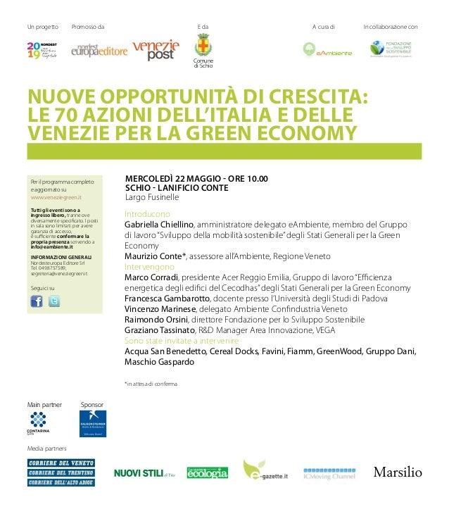 Seminario: NUOVE OPPORTUNITÀ DI CRESCITA: LE 70 AZIONI  DELL'ITALIA E DELLE VENEZIE PER LA GREEN ECONOMY