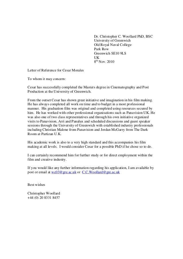 Recommendation Letter For Masters Program From Professor