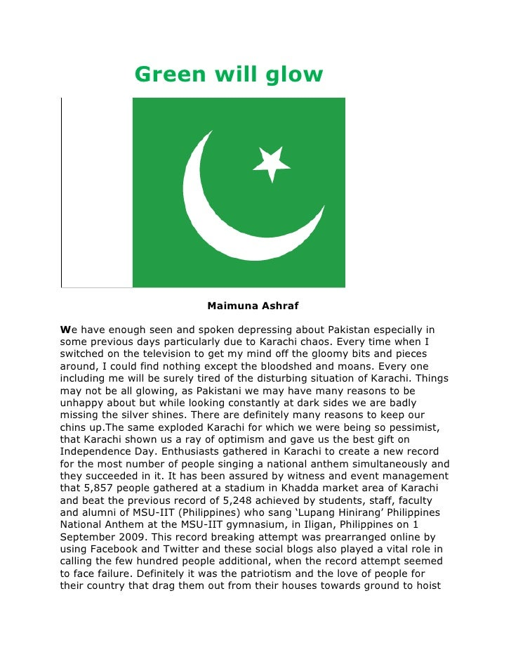 Green will glow<br />                                           Maimuna Ashraf<br />We have enough seen and spok...