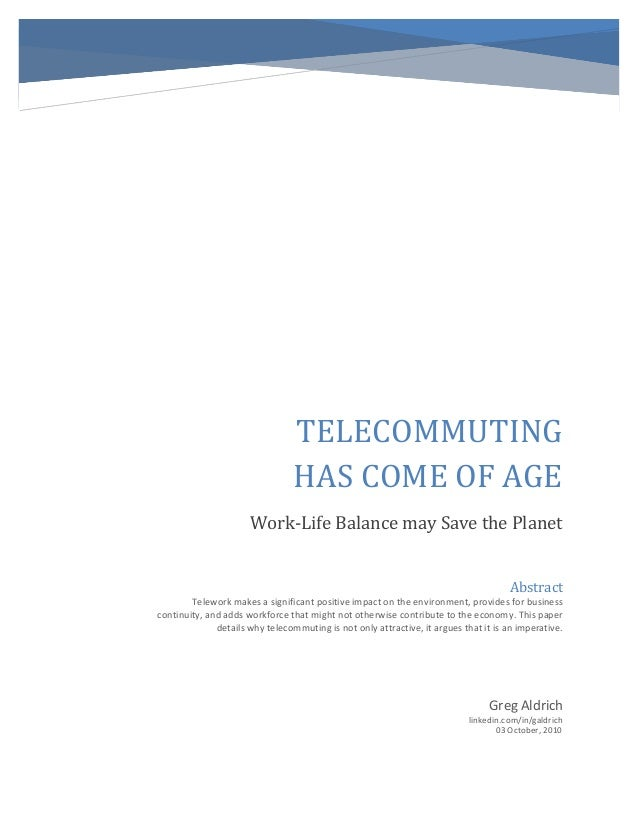 Telecommuting Has Come of Age