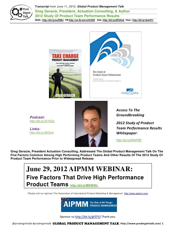 6/11/12 Greg Geracie, President Actuation Consulting 2012 Study Of Product Team Performance Results