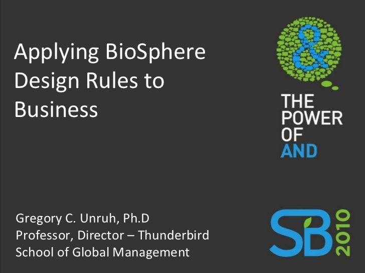 Applying BioSphere Design Rules to Business Gregory C. Unruh, Ph.D Professor, Director – Thunderbird School of Global Mana...