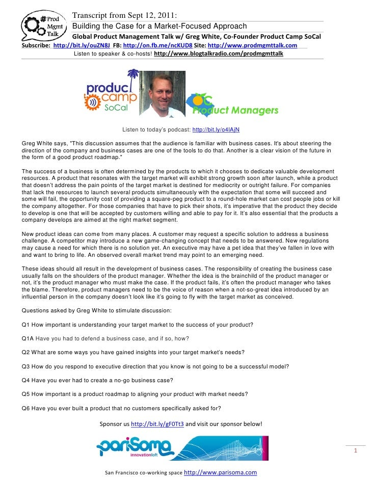 Transcript from Sept 12, 2011:                   Building the Case for a Market-Focused Approach                   Global ...