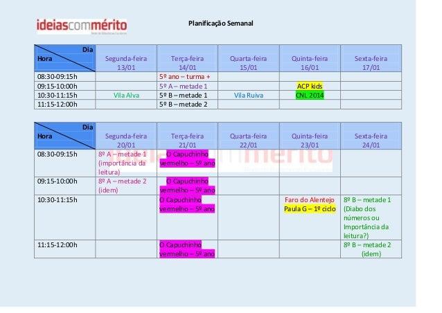 Planificação Semanal  Dia Hora  Segunda-feira 13/01  08:30-09:15h 09:15-10:00h 10:30-11:15h 11:15-12:00h  Vila Alva  Terça...