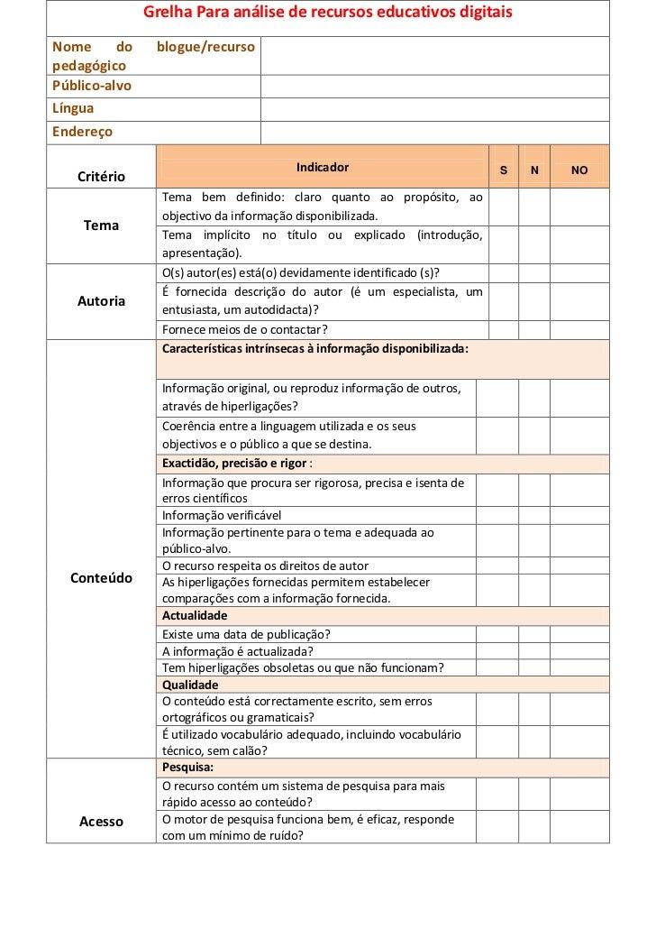Grelha Para análise de recursos educativos digitaisNome      do    blogue/recursopedagógicoPúblico-alvoLínguaEndereço     ...