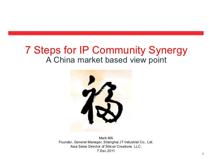 <ul><li>7 Steps for IP Community Synergy </li></ul><ul><li>A China market based view point </li></ul>Mark MA Founder, Gene...