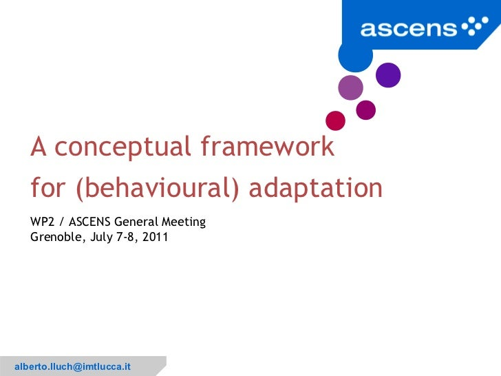 A conceptual framework   for (behavioural) adaptation   WP2 / ASCENS General Meeting   Grenoble, July 7-8, 2011           ...