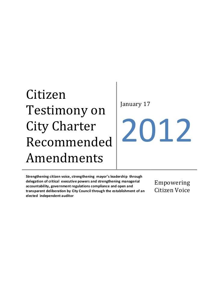 Citizen                                                         January 17Testimony onCity CharterRecommended             ...