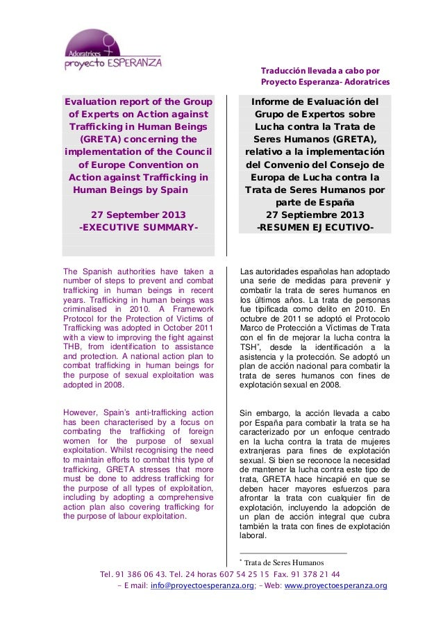 greta evaluation report spain summary informe evaluaci 243 n