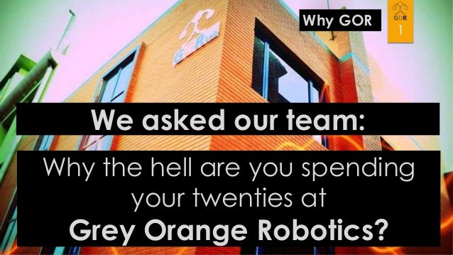 Why GOR  1  We asked our team: Why the hell are you spending your twenties at  Grey Orange Robotics?