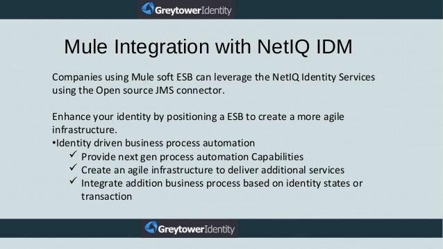 Companies using Mule soft ESB can leverage the NetIQ Identity Services using the Open source JMS connector. Enhance your i...