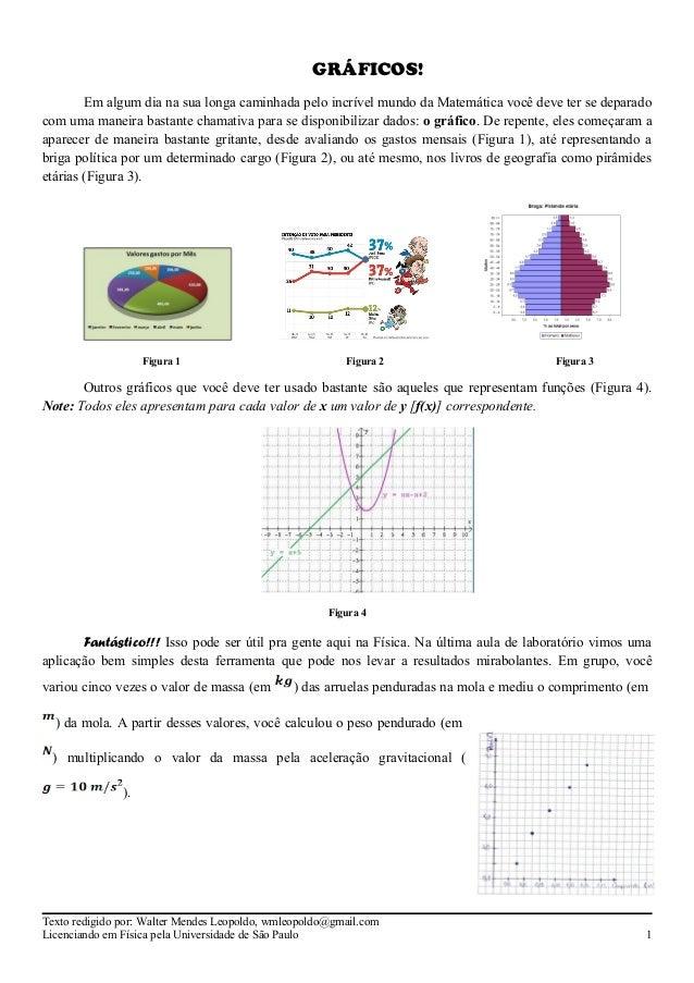 GRÁFICOS! Em algum dia na sua longa caminhada pelo incrível mundo da Matemática você deve ter se deparado com uma maneira ...