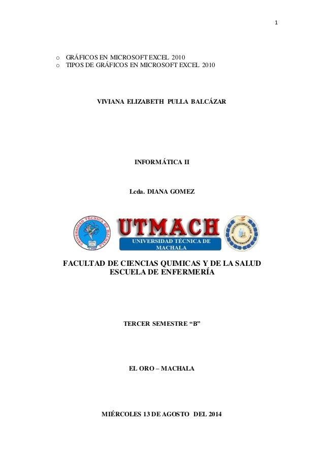 1  o GRÁFICOS EN MICROSOFT EXCEL 2010  o TIPOS DE GRÁFICOS EN MICROSOFT EXCEL 2010  VIVIANA ELIZABETH PULLA BALCÁZAR  INFO...