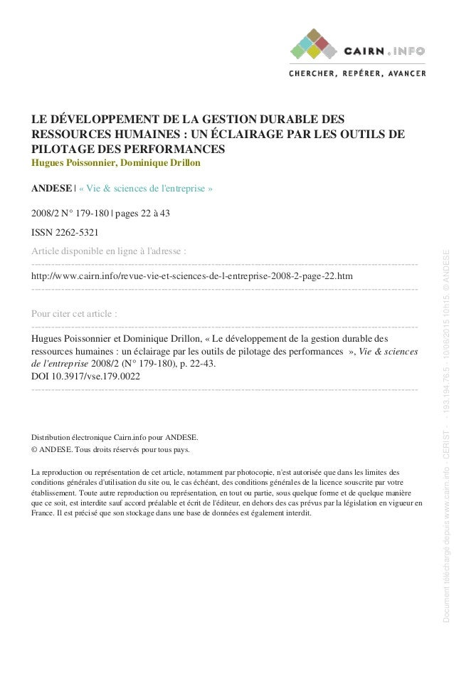 LE DÉVELOPPEMENT DE LA GESTION DURABLE DES RESSOURCES HUMAINES : UN ÉCLAIRAGE PAR LES OUTILS DE PILOTAGE DES PERFORMANCES ...