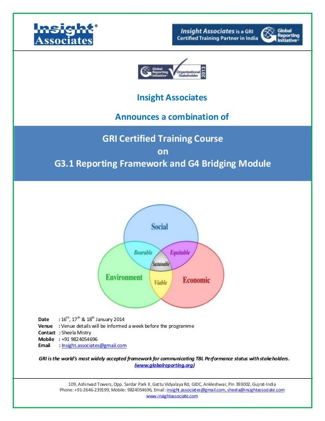 Gri certified g3.1 & g4 bm training course in bangalore jan 16-18, 2014