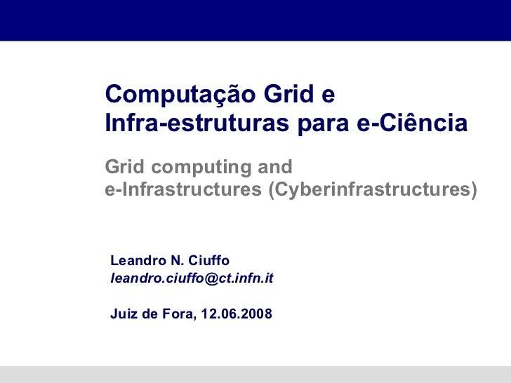 Computação Grid e  Infra-estruturas para e-Ciência Grid computing and  e-Infrastructures ( Cyberinfrastructures) Leandro N...