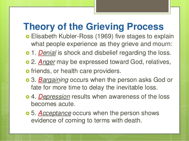 """the five stages of grief in on death and dying by elisabeth kubler ross Many people have heard of the so-called """"five stages of grief"""" and there  on death and dying"""" by elisabeth kubler-ross,  stages of grief depending on."""