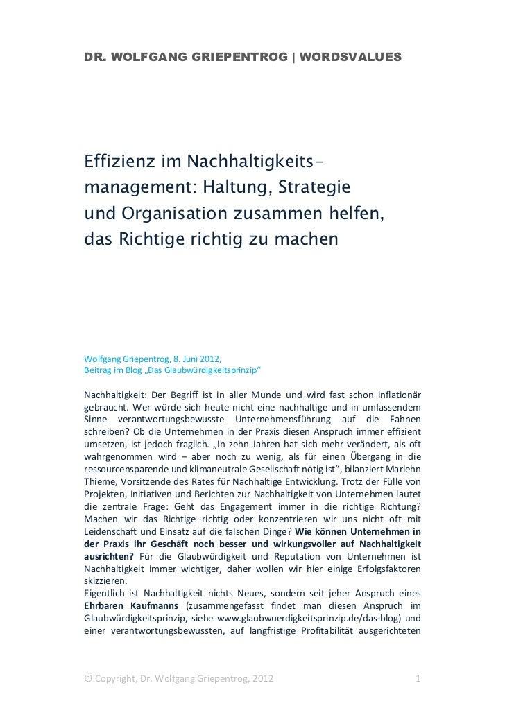 DR. WOLFGANG GRIEPENTROG   WORDSVALUESEffizienz im Nachhaltigkeits-management: Haltung, Strategieund Organisation zusammen...