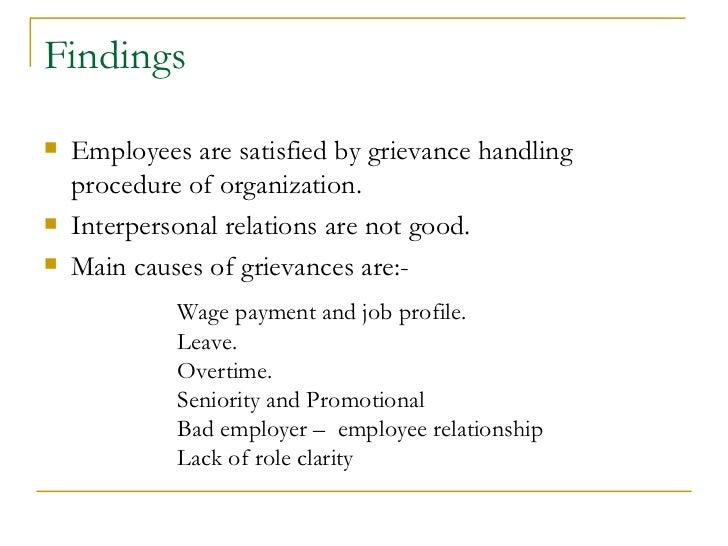 Questionnaire On Grievance Handling Procedure