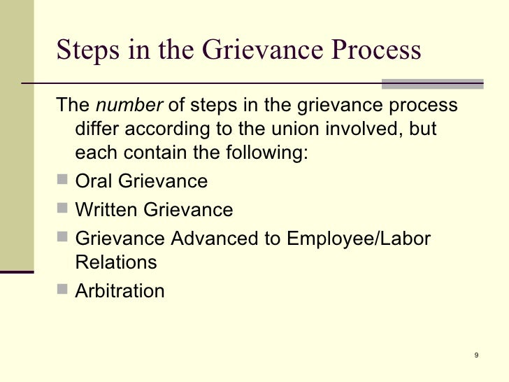the labor grievance process essay It is department of labor's  policy to provide equal employment opportunity for all employees of dol and  on how the administrative eeo complaint process works.