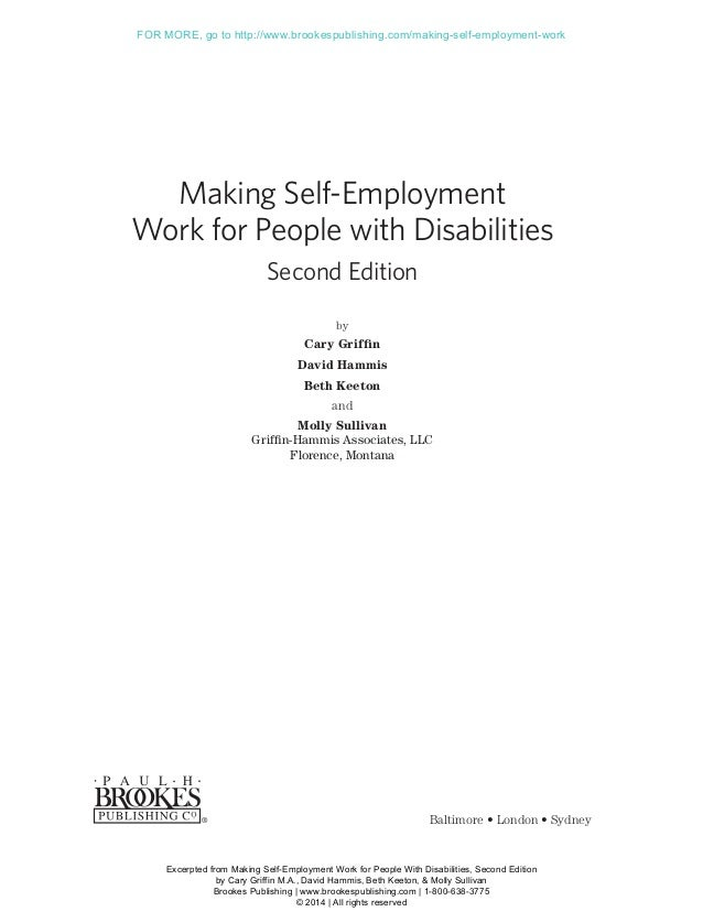 Making Self-Employment Work for People with Disabilities Second Edition by Cary Griffin David Hammis Beth Keeton and Molly...