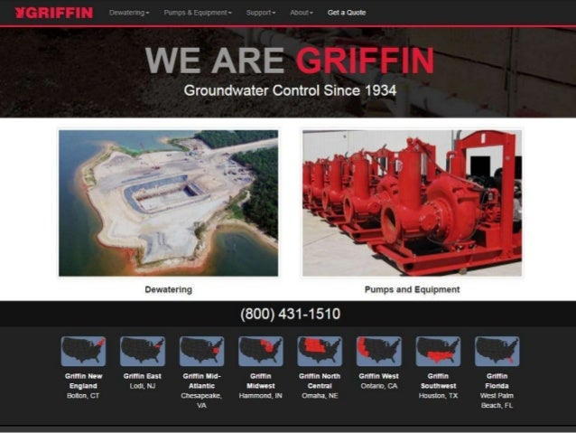 Griffin Dewatering Website Homepage from 2006, 2008 and 2015