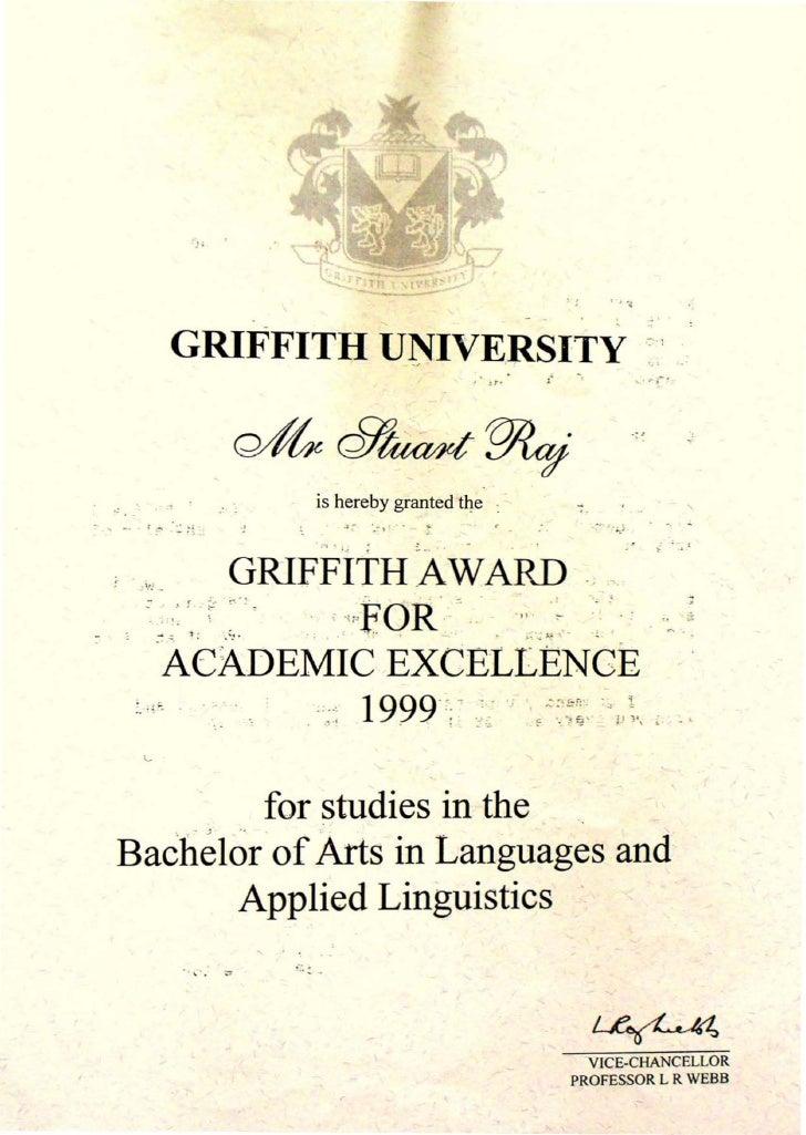 Griffith uni academic excellence award stuart jay raj
