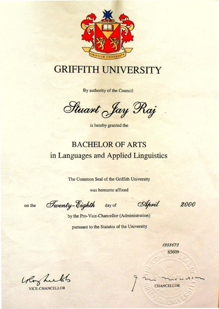GRIFFITH UNIVERSITY                             By authority of the Council                                     is hereby ...
